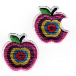 Patch Ecusson Thermocollant Pomme et pomme croquée multicolores 3 x 3,20 cm