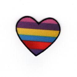 Patch Ecusson Thermocollant Cœur à rayures 3,50 x 4 cm