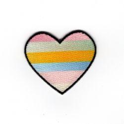 Patch Ecusson Thermocollant Cœur à rayures couleurs claires 3,50 x 4 cm