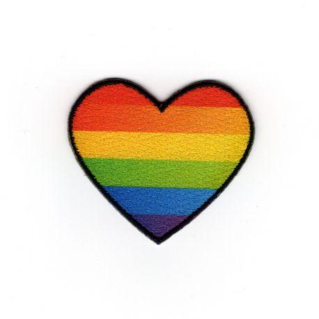 Patch Ecusson Thermocollant Cœur à rayures couleur arc en ciel 3,50 x 4 cm