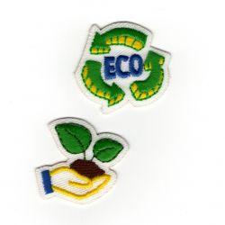 Patch Ecusson Thermocollant Sigle écologie recyclage et bouture 2,50 x 3 cm