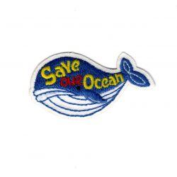 Patch Ecusson Thermocollant Sigle écologie Baleine save our ocean 3 x 5 cm