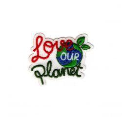 Patch Ecusson Thermocollant Sigle écologie Aimons notre planète 3,50 x 4 cm