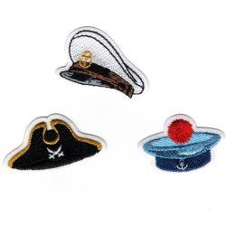 Patch Ecusson Thermocollant Chapeaux tricorne pirate béret marin casquette capitaine 2 x 4 cm