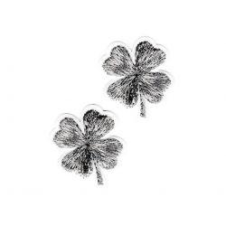 Patch Ecusson Thermocollant 2 x Trèfle à 4 feuilles lurex coloris argenté argent 3 x 3,50 cm