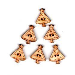 6 x Bouton Sapin de Noël en bois 2 trous 1,70 x 2 cm
