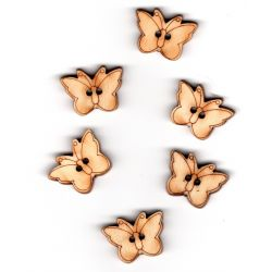 6 x Bouton Papillon en bois 2 trous 1,50 x 2 cm