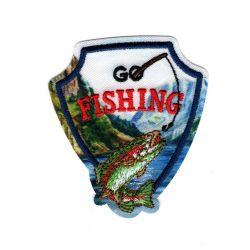 Patch Ecusson Thermocollant Go fishing Jour de pêche 5,50 x 6 cm