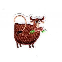 Patch Ecusson Thermocollant Vache animaux du monde 4 x 4 cm