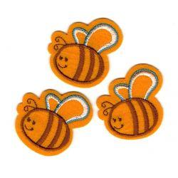 Patch Ecusson Thermocollant 3 x petite abeille feutrine 4 x 4,50 cm