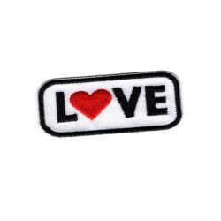 Patch Ecusson Thermocollant Love Coeur rouge 2 x 5,50 cm