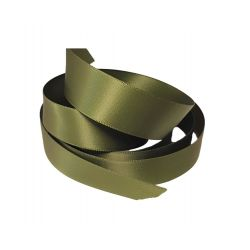 Ruban Satin Double Face 25 mm Coloris vert kaki longueur 6 Mètres