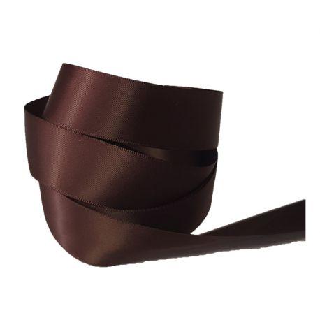 Ruban Satin Double Face 25 mm Coloris marron longueur 6 Mètres