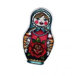 Patch Ecusson Thermocollant Matriochka poupée russe façon tatoo 3 x 5,50 cm