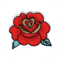Patch Ecusson Thermocollant Fleur rose rouge façon tatoo 5 x 5,50 cm