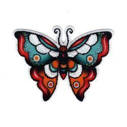 Patch Ecusson Thermocollant Papillon façon tatoo 4,50 x 6 cm