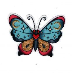 Patch Ecusson Thermocollant Papillon dorures façon tatoo 4,50 x 6 cm