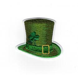 Patch Ecusson Thermocollant Chapeau haut de forme St Patrick's day trèfle vert 4 x 5 cm