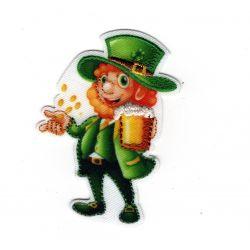 Patch Ecusson Thermocollant Bonhomme St Patrick's day trèfle vert 4 x 5 cm