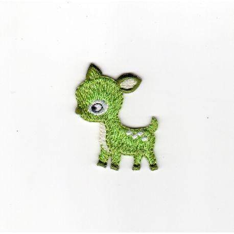 Patch Ecusson Thermocollant Petit faon prince de la forêt coloris vert 3 x 3 cm