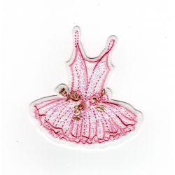 Patch Ecusson Thermocollant Tutu de ballerine danseuse tutu rose 5 x 5,50 cm