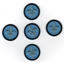 Patch Ecusson Thermocollant 5 x fleur de lys fond bleu 2,2 cm