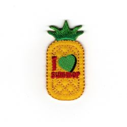 Patch Ecusson Thermocollant Ananas I love summer 2,50 x 5 cm