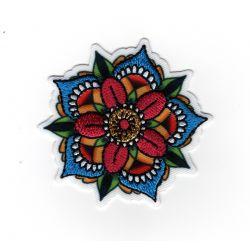 Patch Ecusson Thermocollant Fleur façon tatoo 5,50 x 5,50 cm