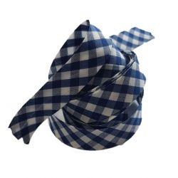 Ruban biais replié 20 mm coloris vichy bleu marine Vendu par 6 mètres Coton Polyester