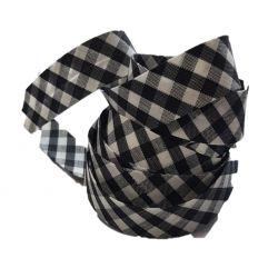 Ruban biais replié 20 mm coloris vichy noir Vendu par 6 mètres Coton Polyester
