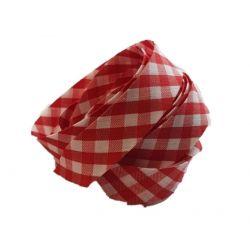 Ruban biais replié 20 mm coloris vichy rouge Vendu par 6 mètres Coton Polyester