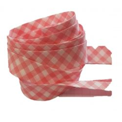 Ruban biais replié 20 mm coloris vichy rose clair Vendu par 6 mètres Coton Polyester
