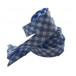 Ruban biais replié 20 mm coloris vichy bleu clair Vendu par 6 mètres Coton Polyester