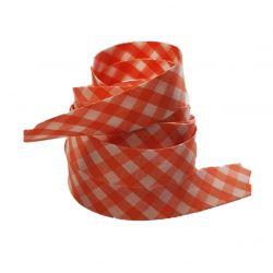 Ruban biais replié 20 mm coloris vichy orange Vendu par 6 mètres Coton Polyester