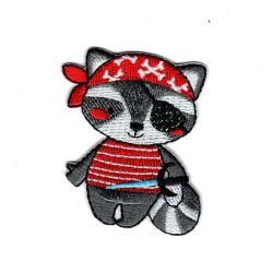 Patch Ecusson Thermocollant Raton Laveur pirate 4 x 5 cm