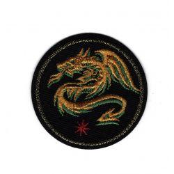 Patch Ecusson Thermocollant Blason Dragon fond noir 5 x 5 cm