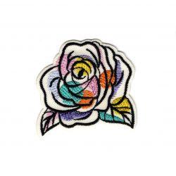Patch Ecusson Thermocollant Fleur rose aquarelle 4 x 4,50 cm