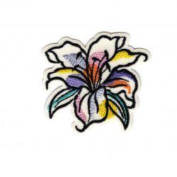 Patch Ecusson Thermocollant Lys fleur aquarelle 4,50 x 5 cm