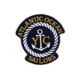 Patch Ecusson Thermocollant Blason Nautique Atlantic ocean ancre marine 5 x 5 cm