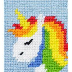 Kit Canevas complet Licorne arc en ciel rainbow 15 x 15 Enfant gros trous