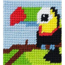 Kit Canevas complet Titouan le toucan 15 x 15 Enfant gros trous