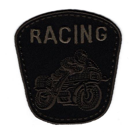 Patch Ecusson Thermocollant Moto racing coloris noir 7 x 7 cm