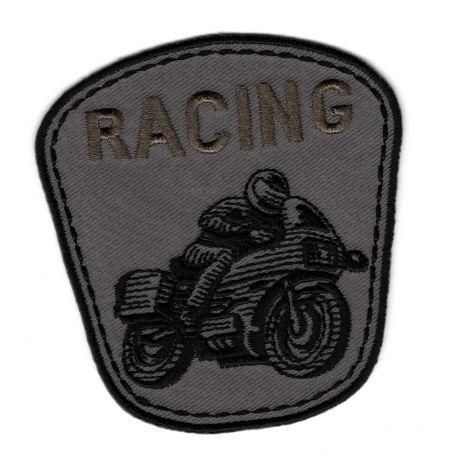 Patch Ecusson Thermocollant Moto racing coloris gris 7 x 7 cm