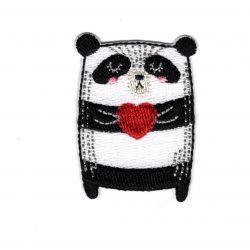 Patch Ecusson Thermocollant Panda cœur coussin 4 x 5 cm