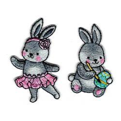 Patch Ecusson Thermocollant 2 x lapin de Pâques et petite danseuse en tutu 3 x 5 cm