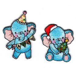 Patch Ecusson Thermocollant 2 x éléphant anniversaire et cadeau de Noël 3,50 x 4,50 cm