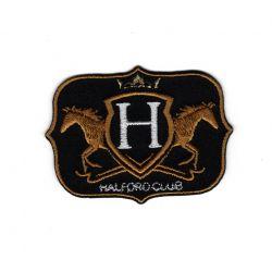 Patch Ecusson Thermocollant Royal Horse Coloris noir et or 4 x 6 cm
