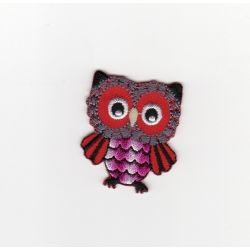 Ecusson Thermocollant CHOUETTE HIBOU Coloris ROUGE
